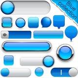 Blåa hög-detaljerade moderna knappar. Royaltyfria Bilder