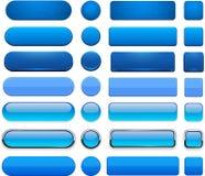 Blåa hög-detaljerade moderna rengöringsdukknappar. stock illustrationer