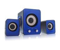 blåa högtalare Arkivfoto