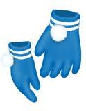 blåa handskar Arkivbilder