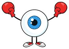 Blåa handskar för ögonglobGuy Cartoon Mascot Character Wearing boxning stock illustrationer