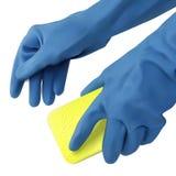 Blåa handskar med svampen vektor illustrationer