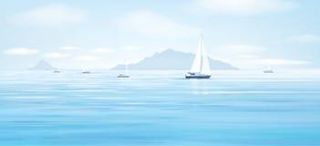 Blåa hav och yachter för vektor vektor illustrationer