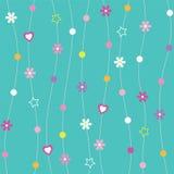 Blåa hjärtor blommar prickar & stjärnabakgrund Arkivfoto