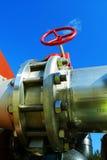 blåa industriella ventiler för pipelinesskystål Royaltyfri Foto