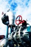 blåa industriella ventiler för pipelinesskystål Arkivbilder