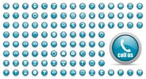Blåa inställda rengöringsduksymboler Royaltyfri Bild