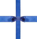 Blåa isolerade satängpilbågar och band - uppsättning 12 Arkivfoton
