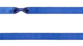 Blåa isolerade satängpilbågar och band - uppsättning 17 Fotografering för Bildbyråer