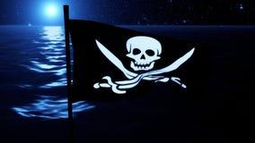 Blåa Jolly Roger Pirate Ship Flag Intro Logo Motion Background royaltyfri illustrationer