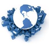 blåa jordjordklotpackar royaltyfri illustrationer