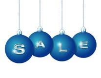 Blåa julbollar med silverordet Sale royaltyfri illustrationer