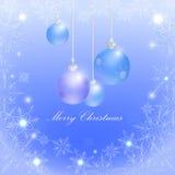 Blåa julbollar och snöflingor, vektor illustrationer