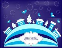 Blåa julhälsningkort Royaltyfri Foto