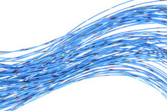 Blåa kablar av telekommunikationnätverket Arkivbilder