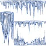 blåa kalla istappar royaltyfri illustrationer