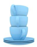 Blåa keramisk disk och koppar Royaltyfri Foto