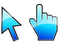 Blåa klicksymboler Fotografering för Bildbyråer
