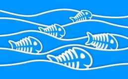 Blåa klistermärkear och vågor för fiskben Arkivbilder