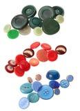 blåa knappar green red arkivfoton
