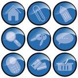 blåa knappsymboler Fotografering för Bildbyråer