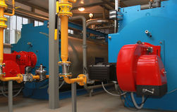Blåa kokkärl och röda gasgasbrännare Arkivfoton