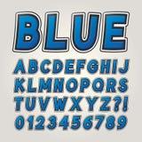 Blåa komiska klistermärkealfabet och nummer stock illustrationer