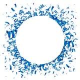 Blåa konfettier med en stor vit cirkel vektor illustrationer