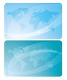 Blåa kort med översikter av världen royaltyfri illustrationer