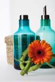 Blåa kosmetiska produktflaskor och en korg Fotografering för Bildbyråer