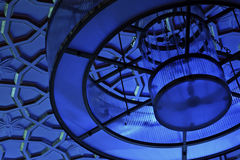 Blåa kupor på lamporna Arkivfoton
