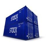 blåa lastbehållare Royaltyfri Bild