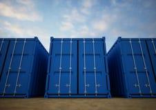 blåa lastbehållare Arkivbild