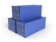 blåa lastbehållare tre Fotografering för Bildbyråer