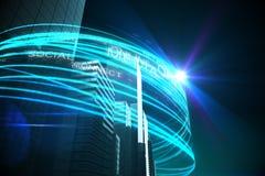 Blåa ljusa strålar över skyskrapor Royaltyfri Foto