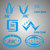 Blåa logoer och symboler Royaltyfria Foton