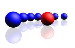 blåa mörkröda unika radspherespheres stock illustrationer