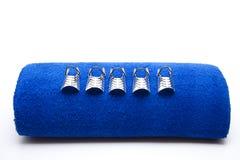 blåa mallar för fingernailhandlager Royaltyfria Bilder