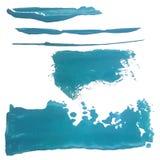 Blåa marin- borsteslaglängder Akvarellhavsbakgrund Abstrakta grungetexturer för kortet, affisch, inbjudan idérikt Royaltyfri Bild