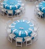 Blåa matställetabeller Royaltyfria Bilder