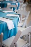 Blåa matställetabeller Fotografering för Bildbyråer
