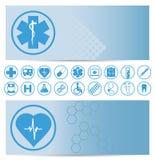 Blåa medicinska baner med symboler Royaltyfri Bild