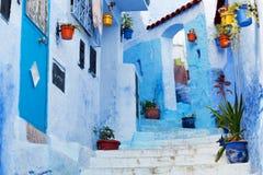 Blåa medina av den Chefchaouen staden i Marocko, Nordafrika Royaltyfri Fotografi
