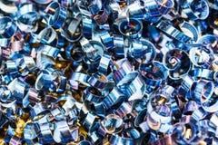 Blåa metallshavings industriell abstrakt bakgrund Royaltyfri Bild