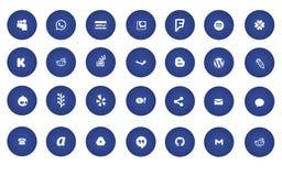 Blåa moderna sociala massmediasymboler arkivbild