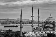 Blåa Mosk och Bosphorus Arkivbild