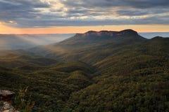 Blåa Mouintains Australien med enslig scenisk sikt för montering Royaltyfria Bilder