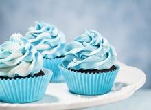 blåa muffiner Fotografering för Bildbyråer
