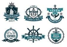Blåa nautiska och segla themed baner eller symboler stock illustrationer