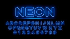 Blåa neonbokstäver av det engelska alfabetet vektor illustrationer